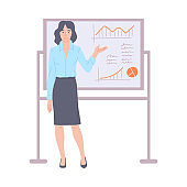 Business woman giving presentation or training flat vector illustration.