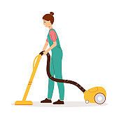 Cleaner woman using yellow vacuum cleaner to clean the floor.
