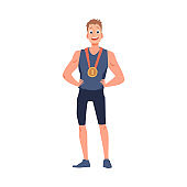 Man champion of competition with gold medal flat vector illustration isolated.