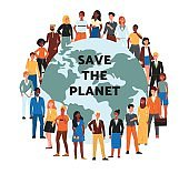 Save the planet banner with multi ethnic people flat vector illustration isolated.