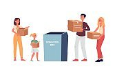 Volunteers bringing clothes for donation flat vector illustration isolated.