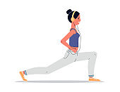Woman doing yoga with headphones - cartoon female athlete in lunge pose