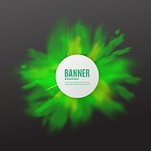 Green powder explosion poster with text template in circle frame