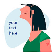 Vaccination time, Stop coronavirus concept. Happy woman after vaccination. Vector illustration with place for your text