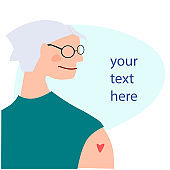 Vaccination time, Stop coronavirus concept. Aged woman after vaccination. Vector illustration with place for your text