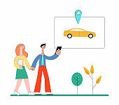 Cartoon people using carsharing app and walking to find car