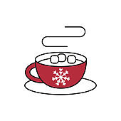 Christmas winter drink mug with marshmallow on white background.