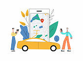 Carsharing smartphone app with map interface and yellow car.