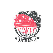 Baked with love - cute kitchen quote doodle on cookie bowl