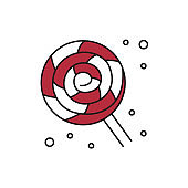 Lollipop candy icon on white background.