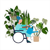 Disabled old woman watering house plants. Vector illustration in flat style