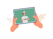 Tablet with tutorial or video review on screen flat vector illustration isolated.