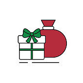 Christmas gifts icon on white background.