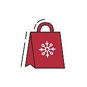 Christmas gift package icon on white background.