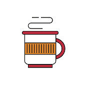 Christmas drink mug icon on white background.