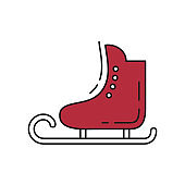 Ice skates icon on white background.