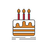 Cake with candles icon on white background.