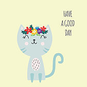 Lettering spring card with cute cat and slogan, flat vector illustration isolated.
