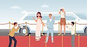Celebrity people at red carpet event - flat cartoon banner