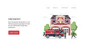 Fire safety banner - firefighter station building and firetruck engine