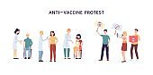 Anti vaccine protest banner. Cartoon people protesting vaccinations.