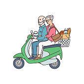 Elderly married couple riding motorbike cartoon vector illustration isolated.