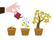 Cartoon growing money tree.