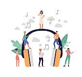 People listening to music with earphones, flat vector illustration isolated.