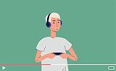 Digital online video tutorials about video games a vector flat illustration
