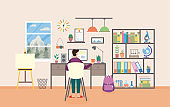 Vector flat illustration of workplace in study room with student or schoolchild