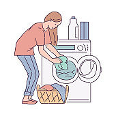 Housewife putting laundry into washing machine, sketch vector illustration.