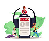 Podcast app poster with radio show interface on smartphone screen