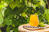 Orange drink with ice on summer sunny garden background. Fresh cocktail drinks with ice fruit and herb decoration