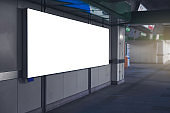 blank billboard design for display announcement and advertising indoor transport station hall in city.