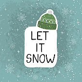 Let it snow - fun hand drawn grating card with lettering