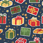 Seamless background with colorful hand draw illustration of christmas gifts
