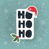 Ho Ho Ho - fun hand drawn grating card with lettering