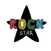 Rock star - fun hand drawn nursery poster with lettering