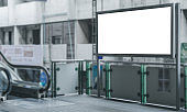 blank billboard white screen led perspective outdoor for advertising display front escalator metro in city.