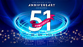 51 years anniversary logo template on dark blue Abstract futuristic space background. 51st modern technology design celebrating numbers with Hi-tech network digital technology concept design elements.