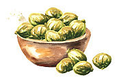 Bowl with Marinated small capers. Hand drawn watercolor illustration, isolated on white background