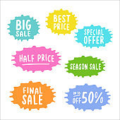 Handwritten set of  SALE stickers. Best Price, Special Offer, Final Season Sale, Up to 50 Off quotes