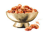 Bowl with Dried sweet red raisins. Hand drawn watercolor illustration, isolated on white background