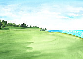 View of beautiful green field with a rich lawn against the sea. Hand-drawn watercolor illustrations and backgrounds.
