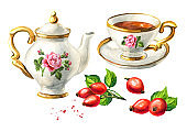 Teapot, cup of tea and Rosehip set. Hand drawn watercolor illustration isolated on white background