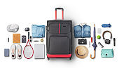 Recreation concept. Suitcase with accessories for traveling.