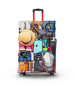 travel concept, clothe in shape of suitcase