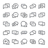 Message and Chat related line icon set. Dialog and communication linear icons. Speech bubble outline vector sign collection.