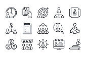 Employment and Recruitment related line icon set. Teamwork and Business people linear vector illustration collection. Team and Business outline icons.