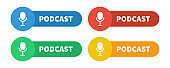Podcast color sign set. Vector podcasting flat label collection on white background.